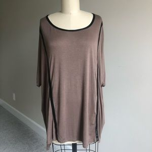 BLUSH Brown Tunic with Black Faux Leather Details